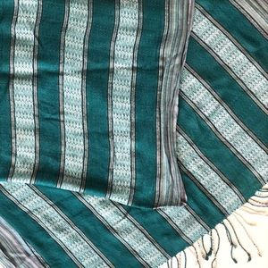 Accessories - Teal striped pashmina scarf w/ metallic details